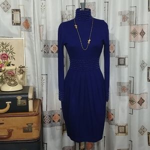 XS/S Vintage 80s look blue pearl dress